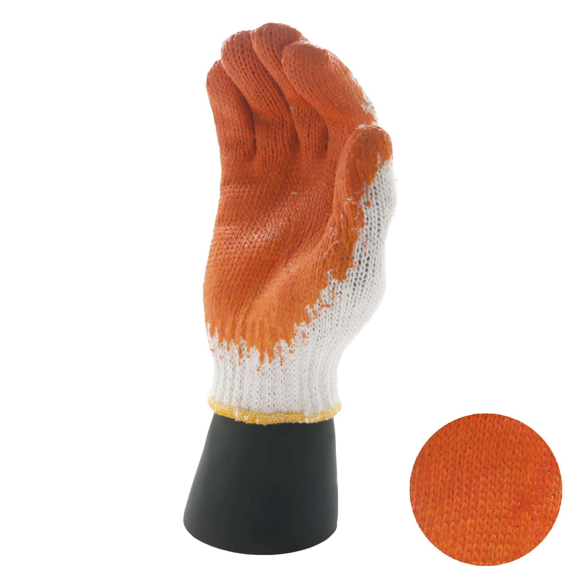 ถุงมือผ้าฝ้าย เคลือบยางส้ม
